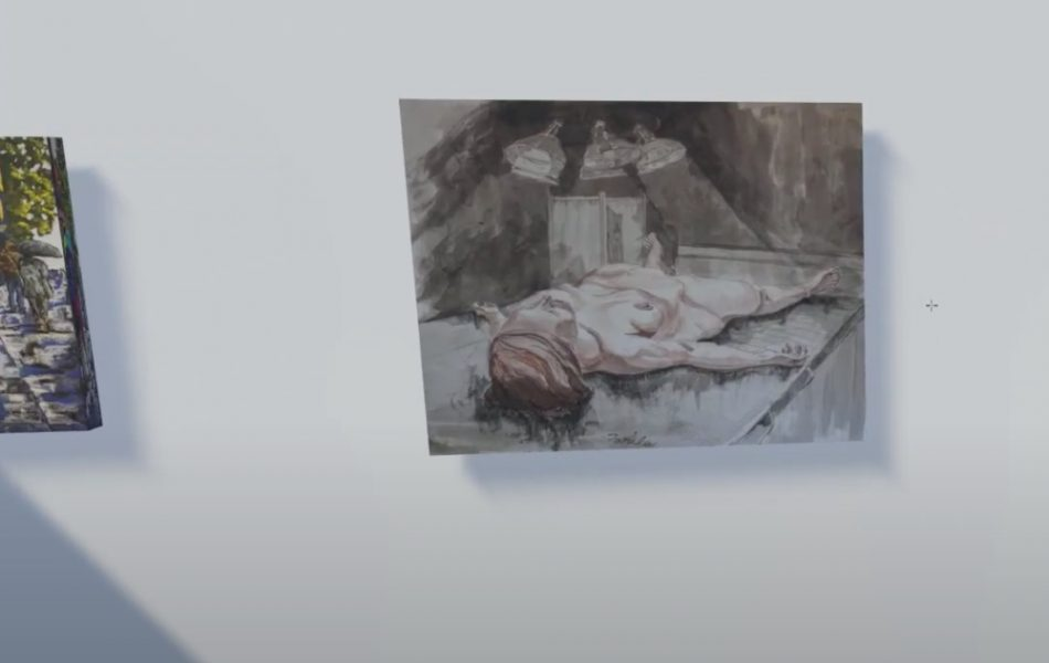 Painting of a girl lying down